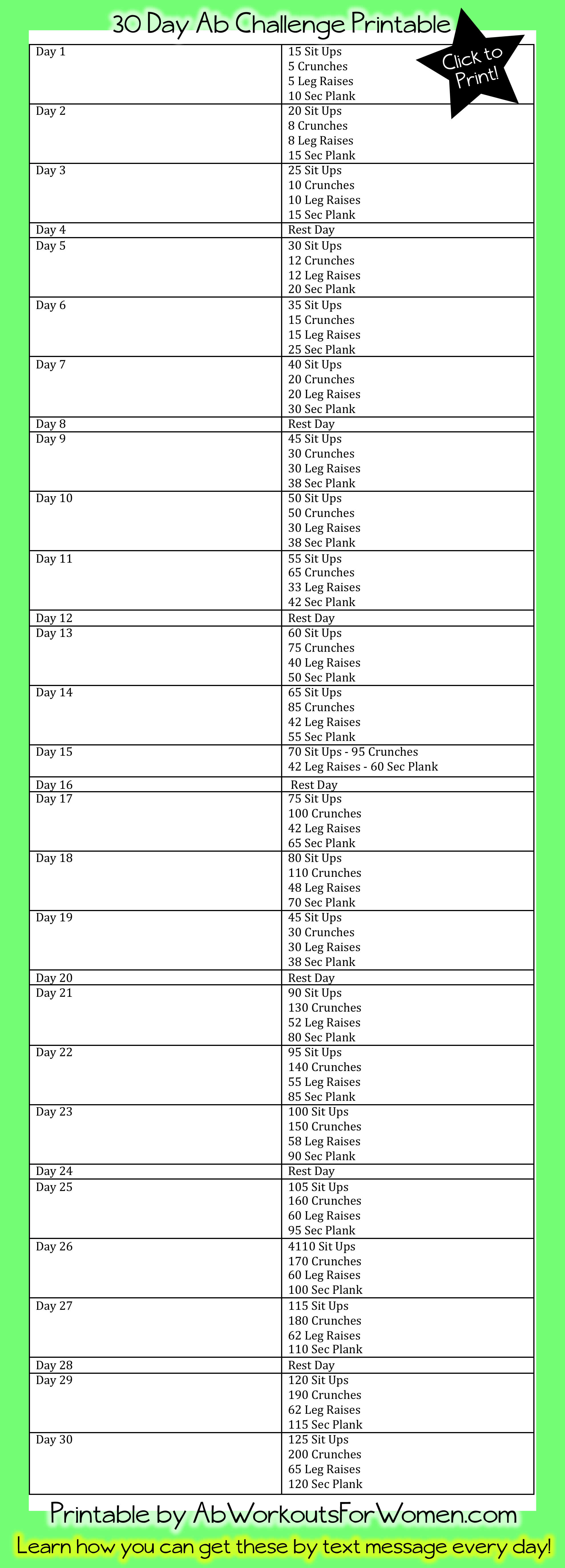 30 Day Plank Challenge Printable Calendar Download and print this 30 ...